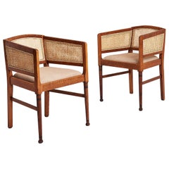 Pair of Arts & Crafts Oak and Cane Armchairs