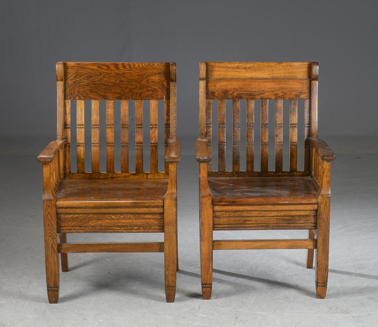 Arts and Crafts Pair of Arts & Crafts Oak Armchairs For Sale