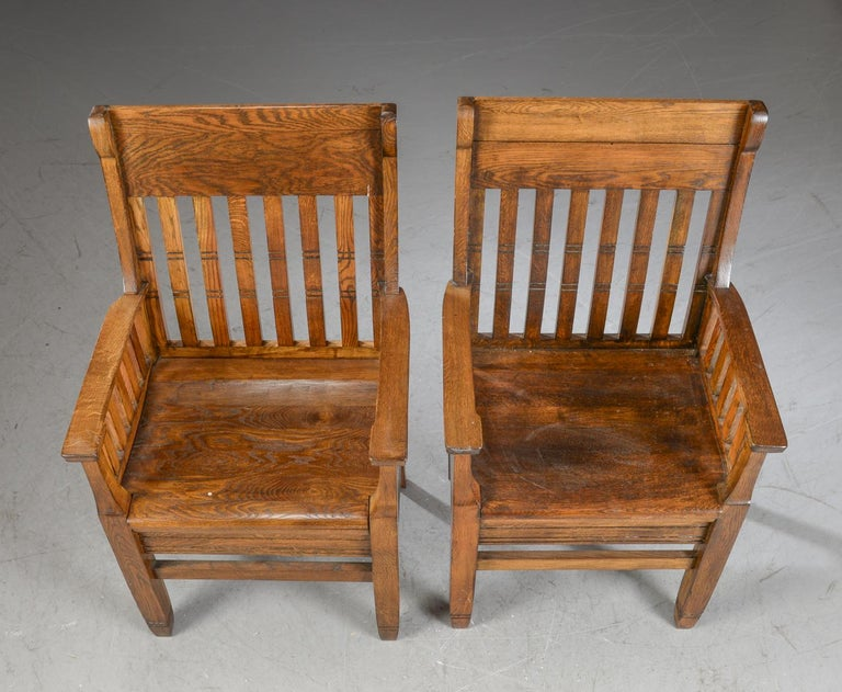 Danish Pair of Arts & Crafts Oak Armchairs For Sale