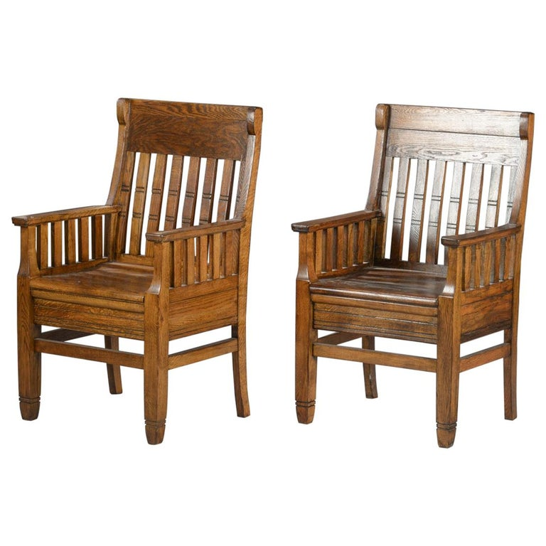 Pair of Arts & Crafts Oak Armchairs For Sale