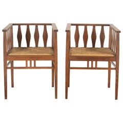 Pair of Arts & Crafts Oak Chairs