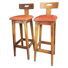 Pair of Arts & Crafts Oak, Elm and Leather Stools with Stud Detail