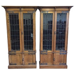Pair of Arts & Crafts Oak Glazed Bookcases with Stylized Copper Hinges & Handles