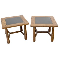 Pair of Arts & Crafts Oak Tapered Legs Square Side End Tables with Slate Tops