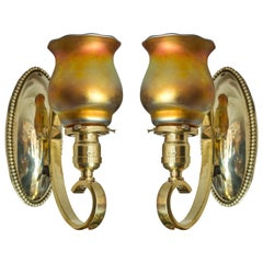 Pair of Arts & Crafts Polished Brass Sconces with Handblown Glass Shades