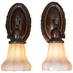 Pair of Arts & Crafts Sconces with Steuben Glass Shades, circa 1910