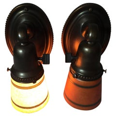 Pair of Arts & Crafts Sconces w/ Handel Mosserine Glass Shades, circa 1910
