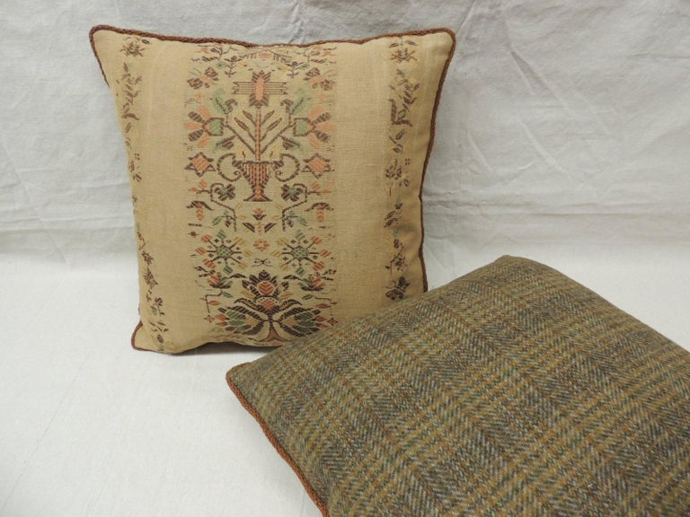 English Pair of Arts & Crafts Woven Linen Green and Orange Floral Decorative Pillows