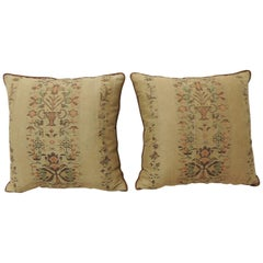Pair of Arts & Crafts Woven Linen Green and Orange Floral Decorative Pillows