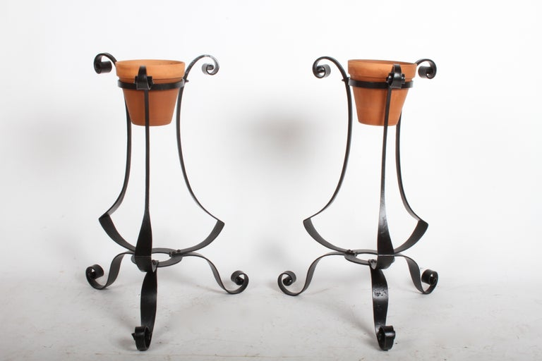 Pair of Arts & Crafts Wrought Iron Planters, Restored For Sale 4