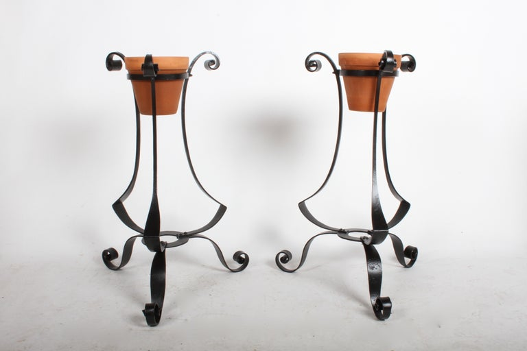 Arts and Crafts Pair of Arts & Crafts Wrought Iron Planters, Restored For Sale