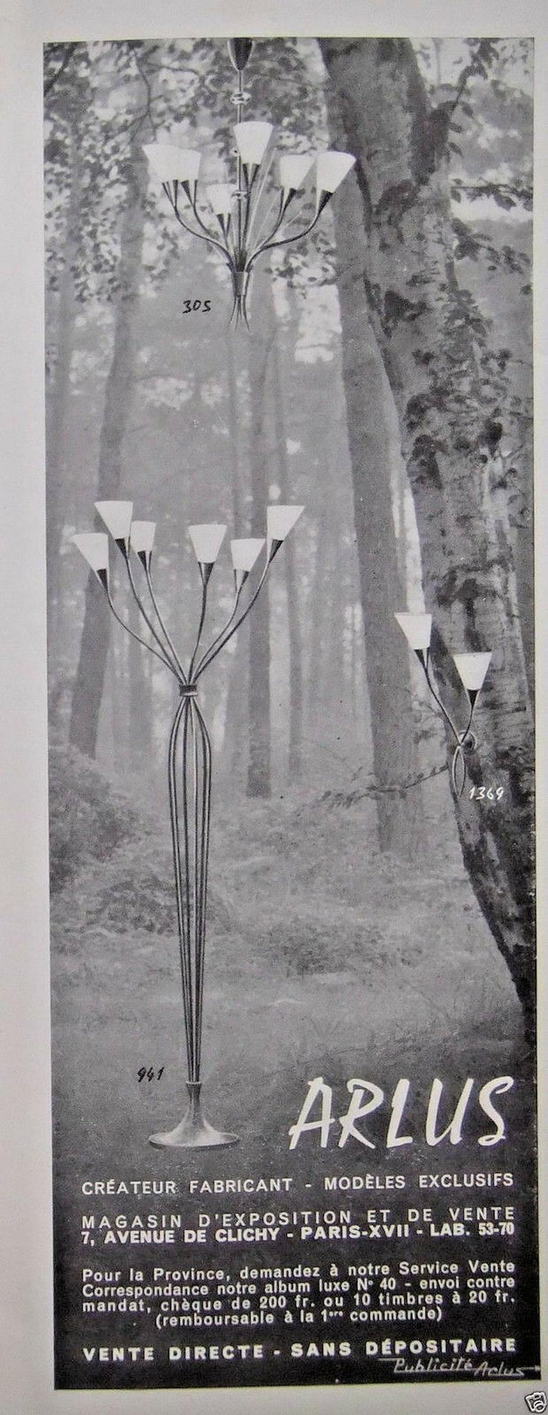 Pair of Arum Sconces by Maison Arlus For Sale 5