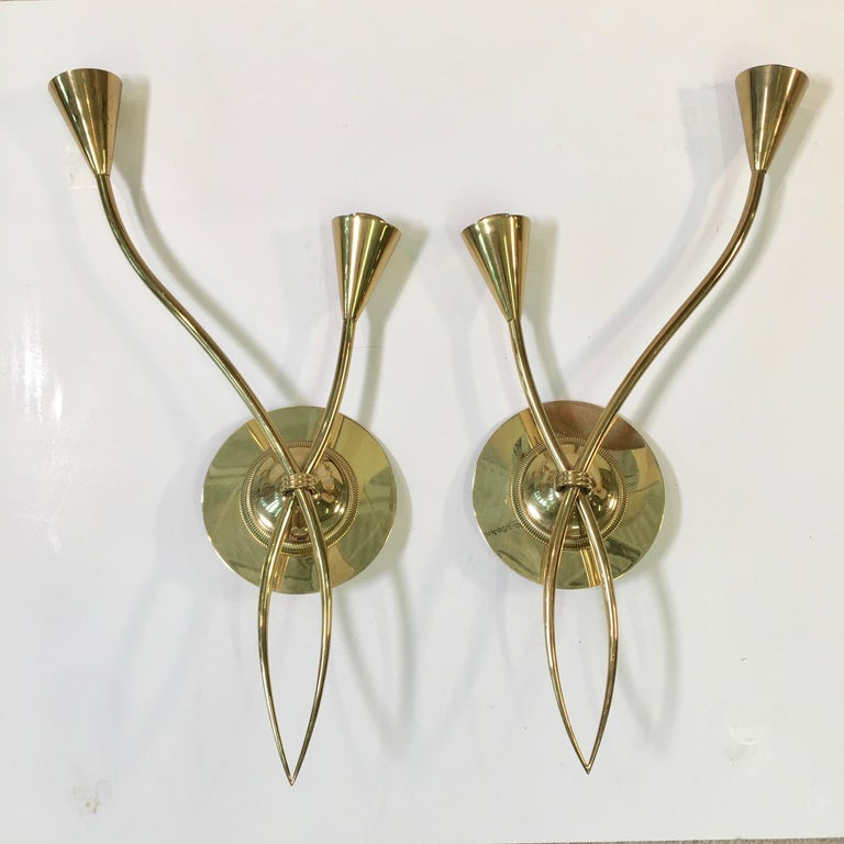 Pair of sinewy vine like wall sconces by Maison Arlus, Paris 1955 in all brass. Model n°1369. We have fitted them with custom made brass backplates for ease of mounting to a junction box. These have been rewired and are ready to install. Presently