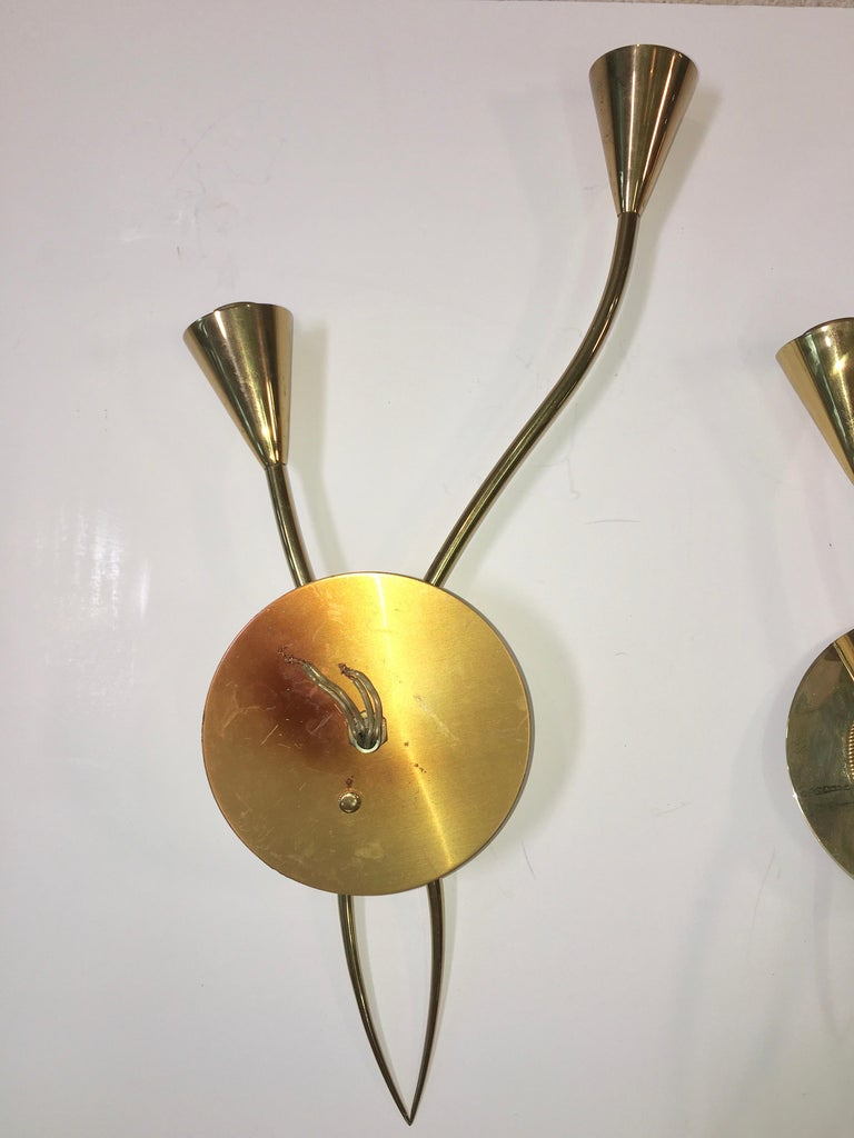 Mid-20th Century Pair of Arum Sconces by Maison Arlus For Sale