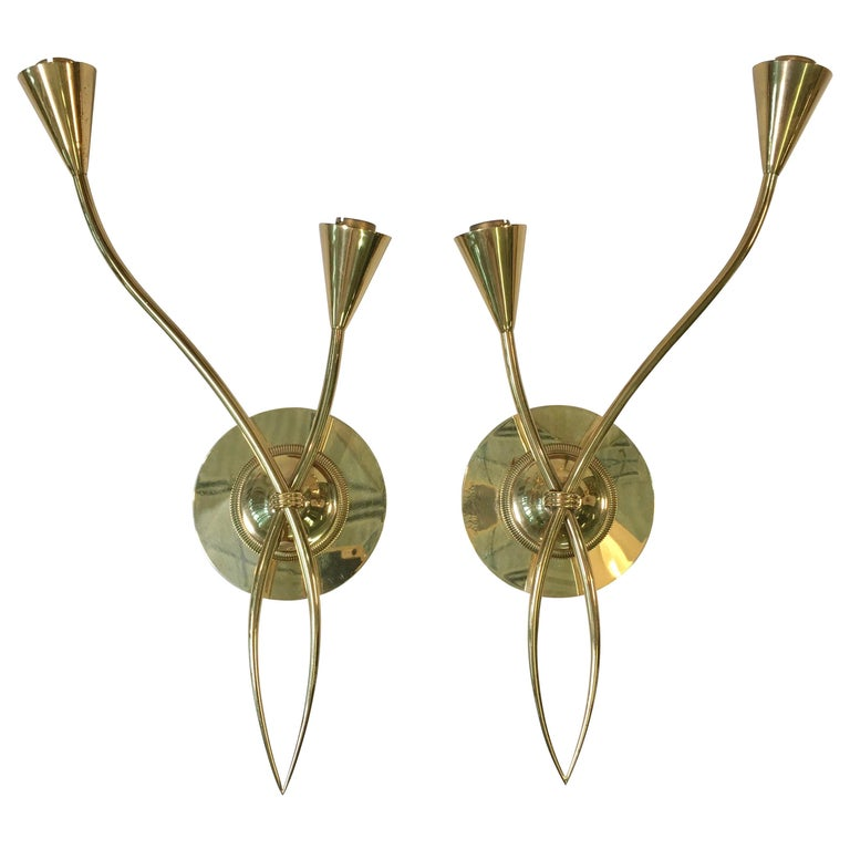 Pair of Arum Sconces by Maison Arlus For Sale