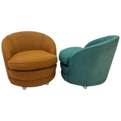 Pair of as Found Edward Wormley Dunbar Attributed Barrel Back Lounge Chairs