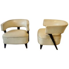 Pair of as Found Paul Laszlo Style Art Deco Moderne Club or Lounge Chairs