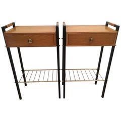 Pair of Ash and Black Metal Nightstands or Side Tables, French, 1960s