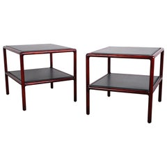 Pair of Ash and Leather Tables by Ward Bennett