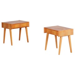 Pair of Ash Brown Midcentury Modeern Bedside Tables Made in Czechia, 1950s