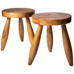 Pair of Ash Stools in the Style of Charlotte Perriand, France, circa Late 1950s