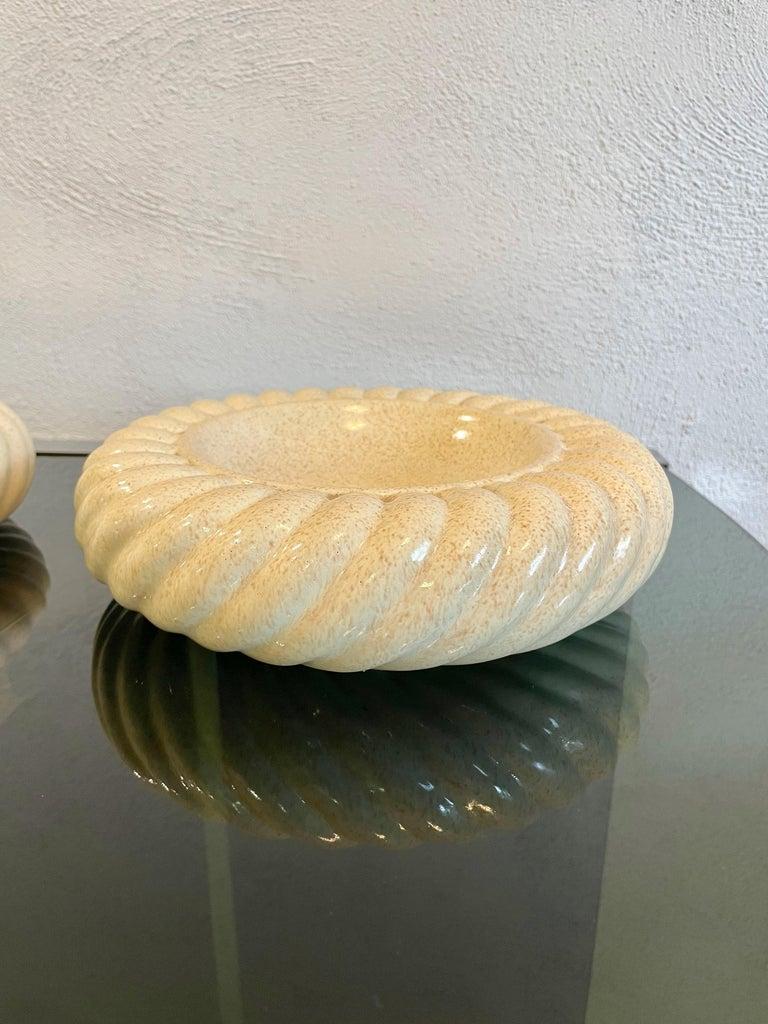 Late 20th Century Pair of Ashtray Ceramic Vide-Poche by Tommaso Barbi for B Ceramiche, Italy 1970s For Sale
