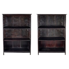 Pair of Asian Bamboo Open Cabinets