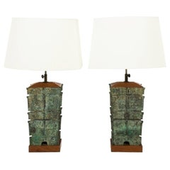 Pair of Asian Bronze Lamps, circa 1910