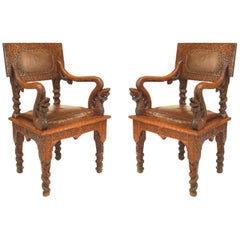 Pair of Asian Burmese Style, 19th Century Oak Carved Armchairs