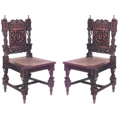Pair of Asian Burmese Style '19th Century' Teak Carved Side Chairs