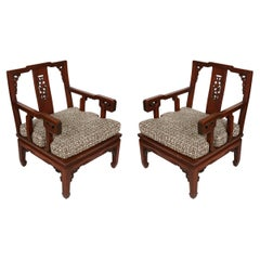 Pair of Asian Carved Hardwood Chairs