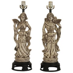 Pair of Asian Ceramic Crackle Lamps