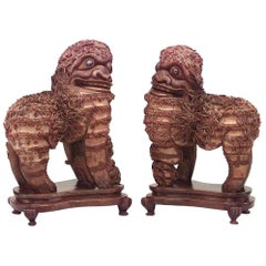 Pair of Asian Chinese Style '19th Century' Carved Wood Foo Dog Figures