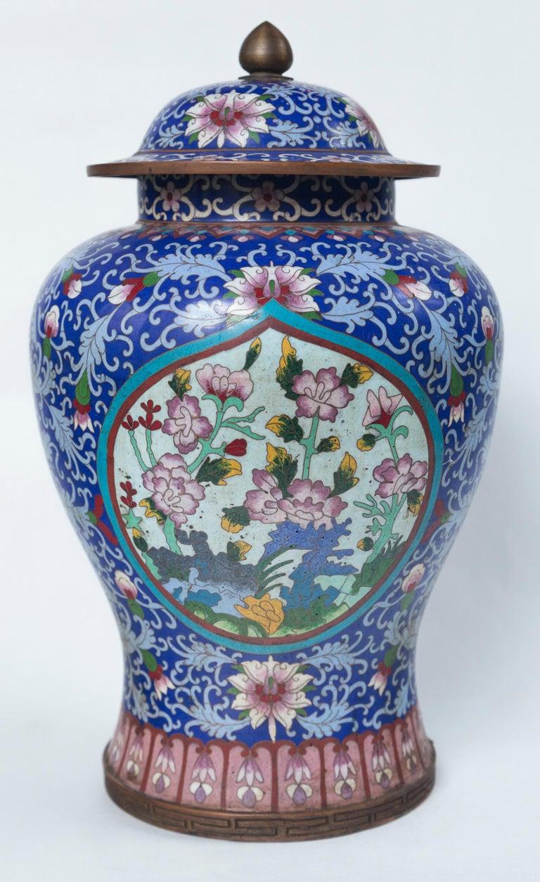 Pair of Asian Cloisonne Lidded Jars For Sale 4