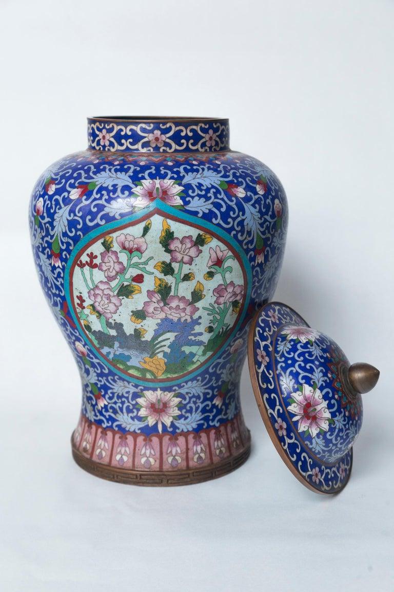 Cloissoné Pair of Asian Cloisonne Lidded Jars For Sale