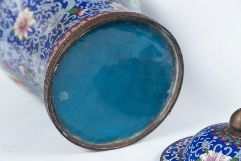Pair of Asian Cloisonne Lidded Jars In Good Condition For Sale In Woodbury, CT