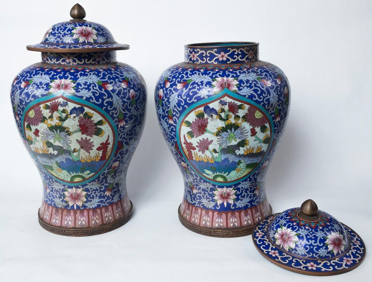 20th Century Pair of Asian Cloisonne Lidded Jars For Sale