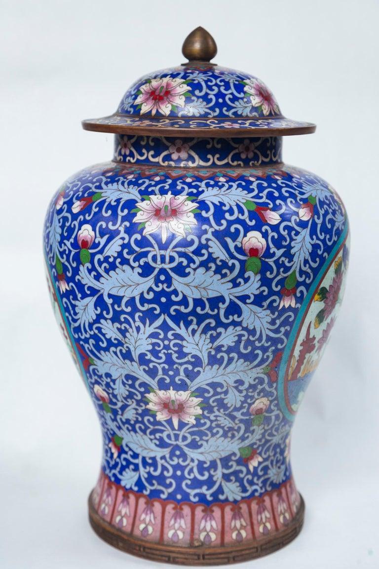 Metal Pair of Asian Cloisonne Lidded Jars For Sale