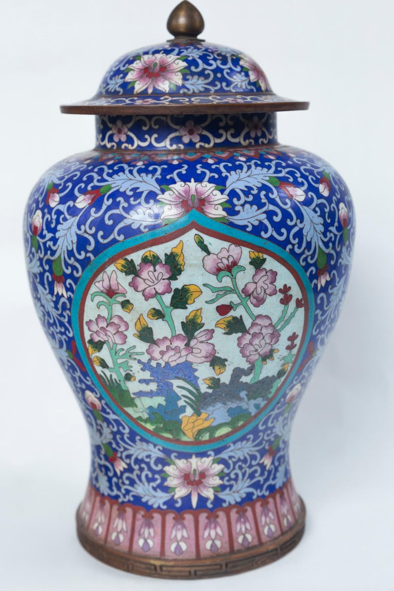 Pair of Asian Cloisonne Lidded Jars For Sale 1