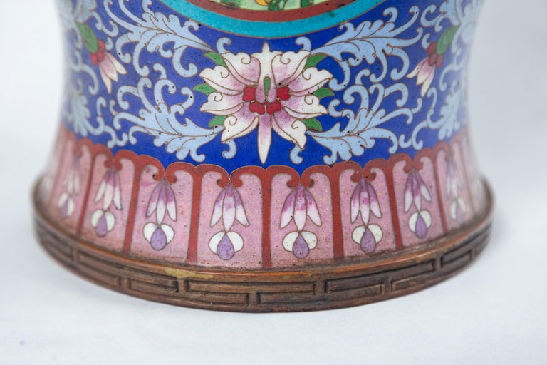 Pair of Asian Cloisonne Lidded Jars For Sale 2