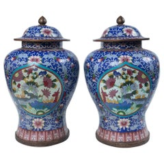 Pair of Asian Cloisonne Lidded Jars