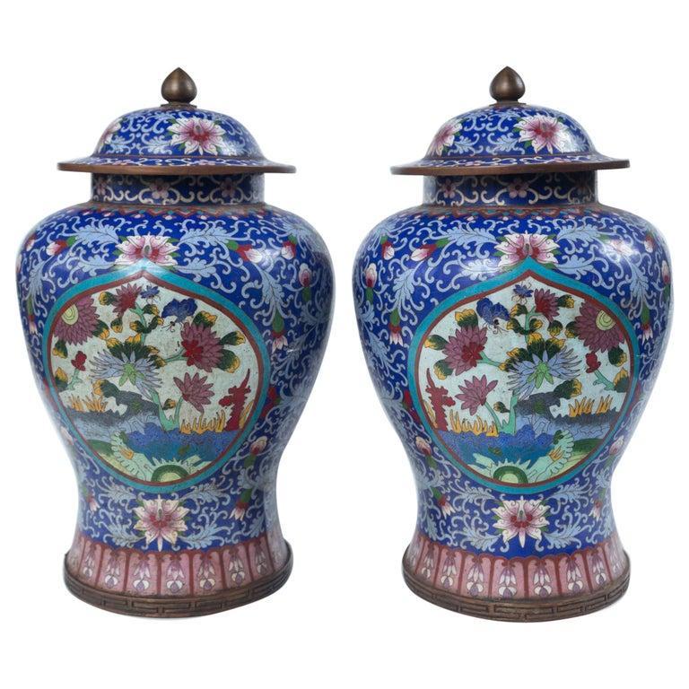 Pair of Asian Cloisonne Lidded Jars For Sale