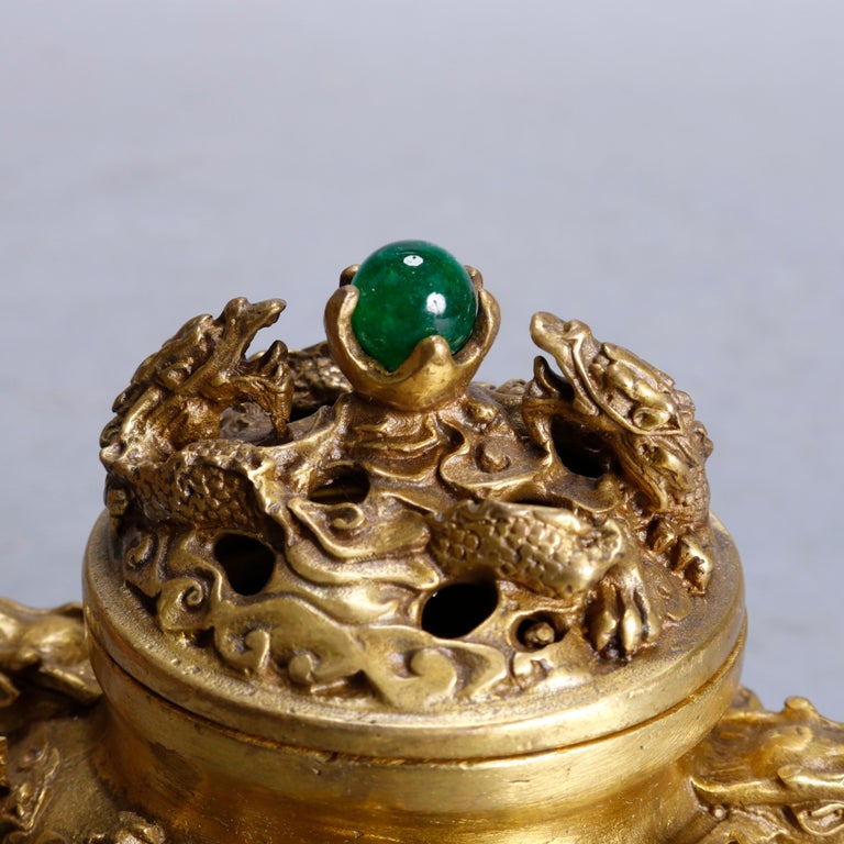 Pair of Asian Gilt Bronze Figural Censers with Dragons & Serpents, 20th Century In Good Condition For Sale In Big Flats, NY