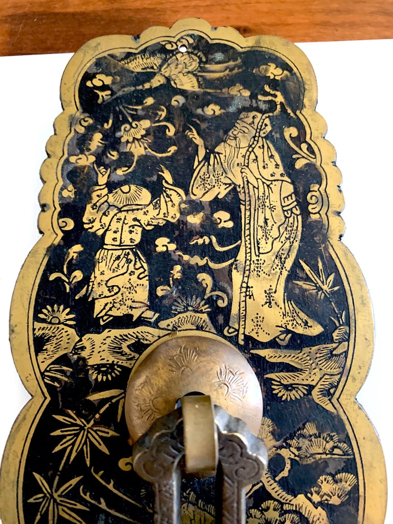 Chinese Pair of Etched Brass Chinoiserie Hardware For Sale