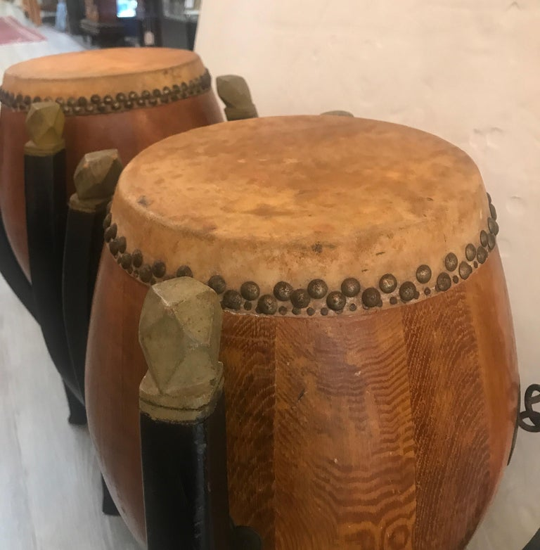 Animal Skin Pair of Asian Hardwood Drums with Collapsible Stands