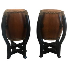 Pair of Asian Hardwood Drums with Collapsible Stands