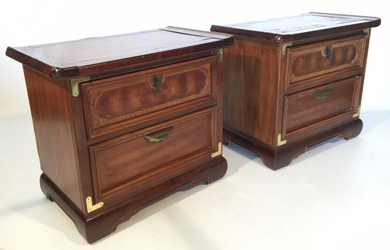 Pair Of Heavy Wood Nightstands In An Asian Chinoiserie Style Feature Campaign Br Hardware And