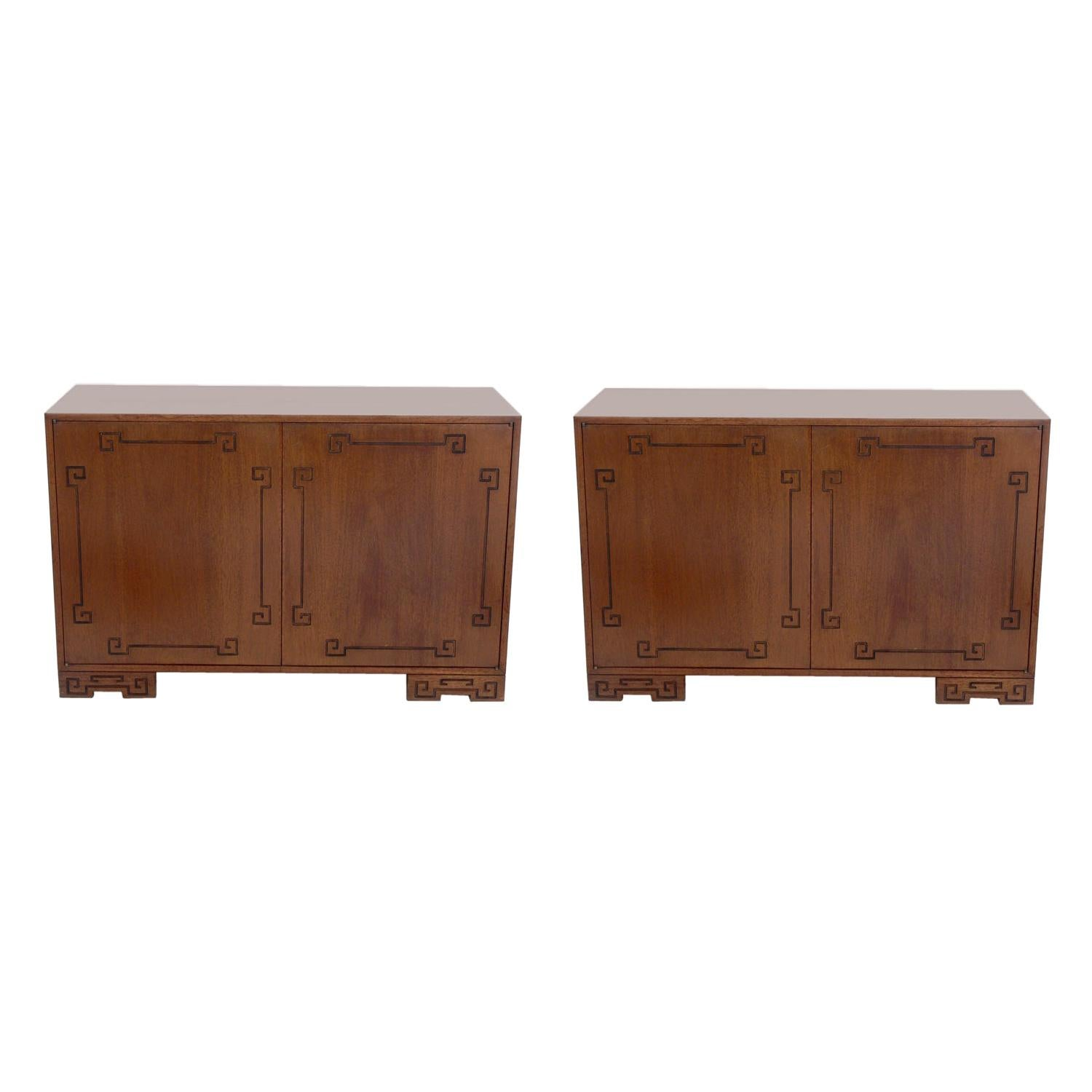 Pair of Asian Influenced Cabinets in Your Choice of Color