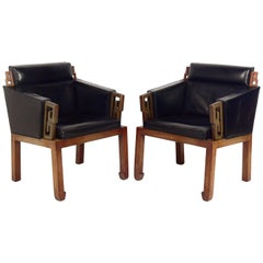 Pair of Asian Influenced Leather Lounge Chairs Attributed to James Mont