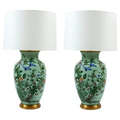 Pair of Asian Inspired Celadon Lamps
